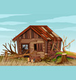 scene with old wooden house in the field vector image vector image