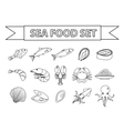 Sea food icons set Modern line doodle vector image vector image