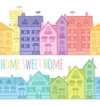 Seamless pattern of coloured houses drawn by hand vector image vector image