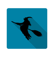 silhouette of a witch on a broom icon vector image vector image