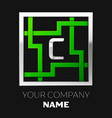 silver letter c logo symbol in the square maze vector image vector image