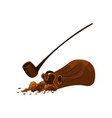 small pouch with tobacco and wooden pipe smoking vector image