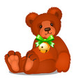 soft toy teddy bear with jingle bells with green vector image vector image