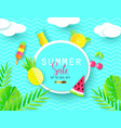 summer sale banner with sweet vacation elements vector image