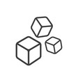 three cubes line icon images vector image vector image
