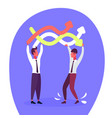 two businessmen holding curved colorful lines vector image