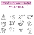 Valentine day icons with hand draw vector image vector image