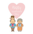 white background with elderly couple and girl with vector image vector image