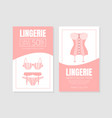 woman langerie store two sided flyer vector image