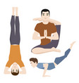 yoga positions mans characters class meditation vector image vector image