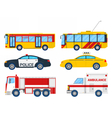 City Transportation Set with Bus Trolley and Taxi vector image