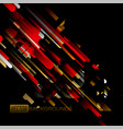 abstract gold and red colors shapes on a black vector image vector image