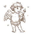angel with arrow and wings valentines day cupid vector image vector image