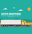 auto shipping banner with container truck vector image vector image