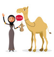 bedouin arab woman walking leading a camel vector image vector image