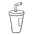 black and white freehand drawn cartoon soda vector image vector image