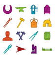 blacksmith icons doodle set vector image vector image
