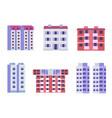 block city apartments buildings in flat design vector image