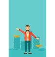 Businessman with scales vector image vector image
