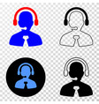 call center manager eps icon with contour vector image
