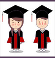 cartoon style kids characters in graduation vector image