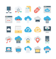 Cloud Data Technology Colored Icons 1 vector image vector image
