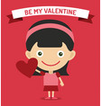 Cute cartoon girl with heart vector image vector image