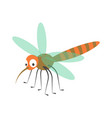 cute dragonfly with long proboscis and striped vector image