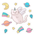 cute white cat in a unicorn costume with wings and vector image vector image