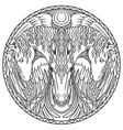 doodle coloring in a circle three horses vector image vector image