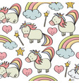 doodle seamless pattern with unicorns and other vector image vector image