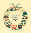 Flat design of hipster style vector image