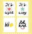 four children s logo with handwriting hi be kind vector image vector image