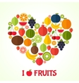 Fruits heart in flat style Colorful template for vector image vector image
