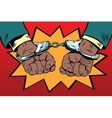 handcuffs behind the back hands African American vector image
