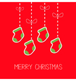 Hanging christmas socks dash line bow Christmas vector image vector image
