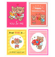 happy valentines day to you and me true love set vector image vector image