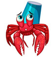 hermit crab with coffee cup on back vector image