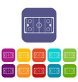 ice hockey rink icons set vector image vector image