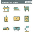 Icons line set premium quality of home appliances vector image