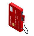 isometric online payment fuel pumps at a gas vector image