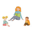 kindergarten kids listening to teacher reading vector image vector image