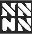 letter n logo set black and white minimal style vector image