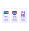 Lgbt thin line icons free love flag support