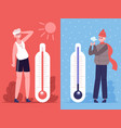 man in hot and cold weather outdoor temperature vector image vector image
