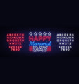 memorial day memorial day neon sign vector image
