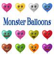 monster heart balloons set vector image