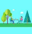 picnic outdoors summer eating on nature in wood vector image vector image
