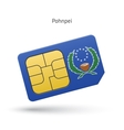 Pohnpei mobile phone sim card with flag vector image vector image