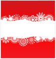 Red background with white snowflakes vector image
